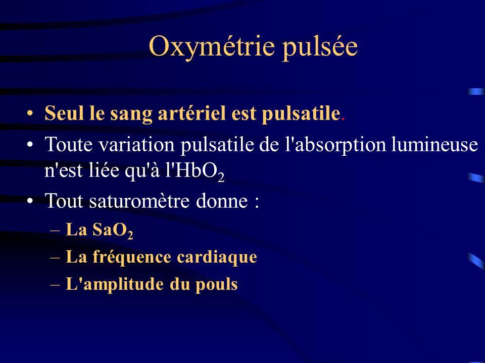 Oxymétrie pulsée Seul le sang artériel est pulsatile. Toute variation pulsatile de l'absorption lumineuse n'est liée qu'à l'HbO 2 Tout saturomètre don