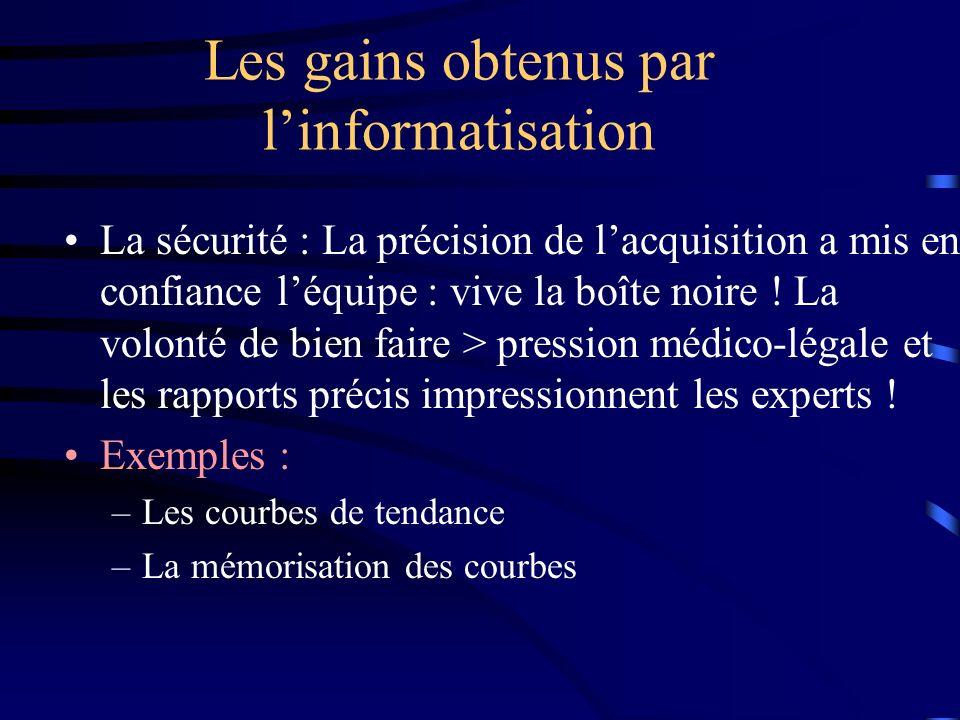 Les gains obtenus par linformatisation La sécurité : La précision de lacquisition a mis en confiance léquipe : vive la boîte noire ! La volonté de bie