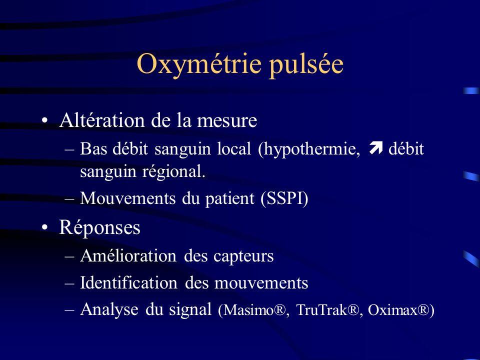 Oxymétrie pulsée Altération de la mesure –Bas débit sanguin local (hypothermie, débit sanguin régional. –Mouvements du patient (SSPI) Réponses –Amélio
