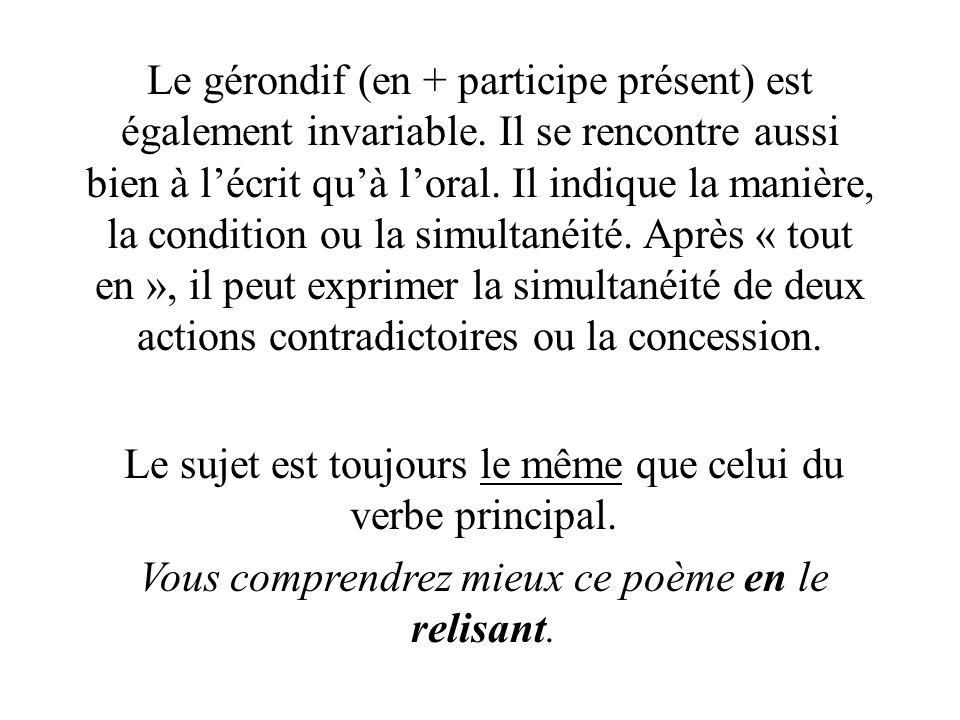 Le gérondif (en + participe présent) est également invariable.