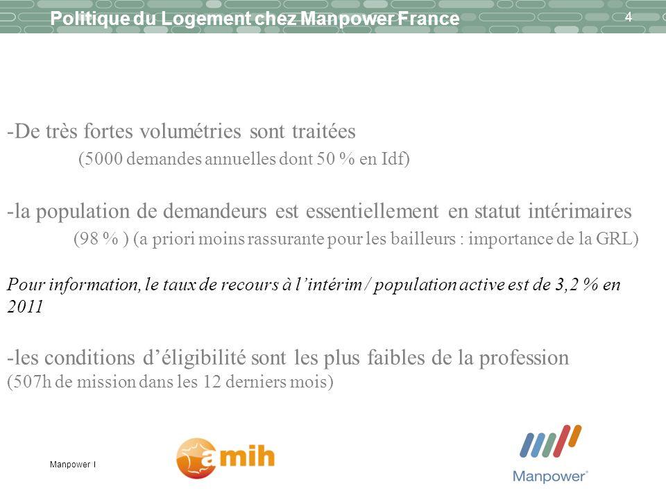 Manpower 4 Politique du Logement chez Manpower France -De très fortes volumétries sont traitées (5000 demandes annuelles dont 50 % en Idf) -la populat