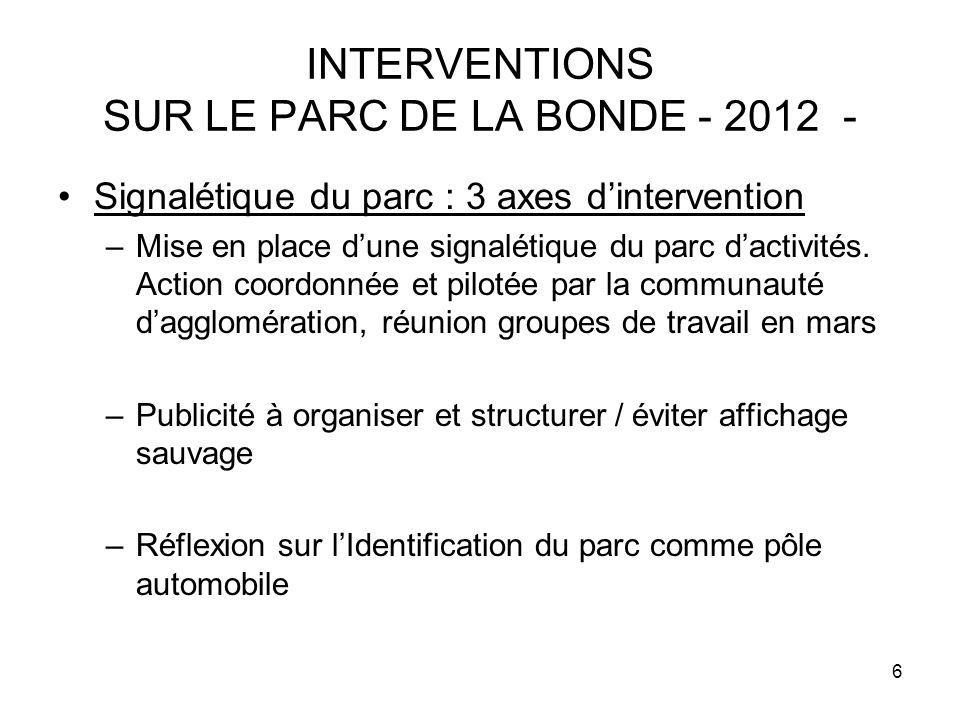 6 INTERVENTIONS SUR LE PARC DE LA BONDE - 2012 - Signalétique du parc : 3 axes dintervention –Mise en place dune signalétique du parc dactivités. Acti