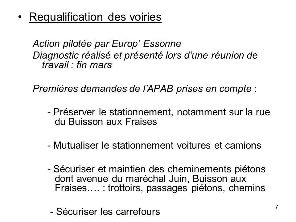 7 Requalification des voiries Action pilotée par Europ Essonne Diagnostic réalisé et présenté lors dune réunion de travail : fin mars Premières demand