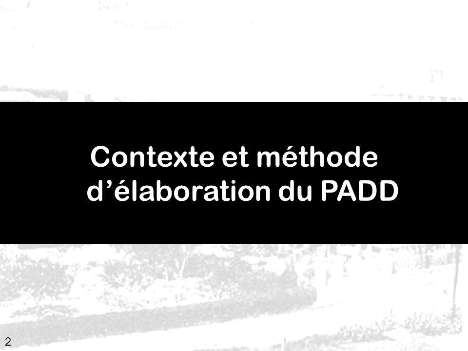 3 Contexte juridique de lélaboration du PADD les principes du développement durable Article R.123-3 du Code de lurbanisme : « Le PADD définit, dans le respect des objectifs et des principes énoncés aux articles L.110 et L.121-1, les orientations durbanisme et daménagement retenues pour lensemble de la commune.