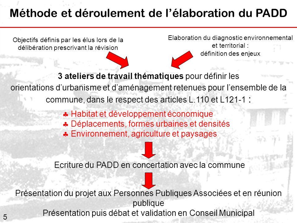 5 Objectifs définis par les élus lors de la délibération prescrivant la révision 3 ateliers de travail thématiques pour définir les orientations durba