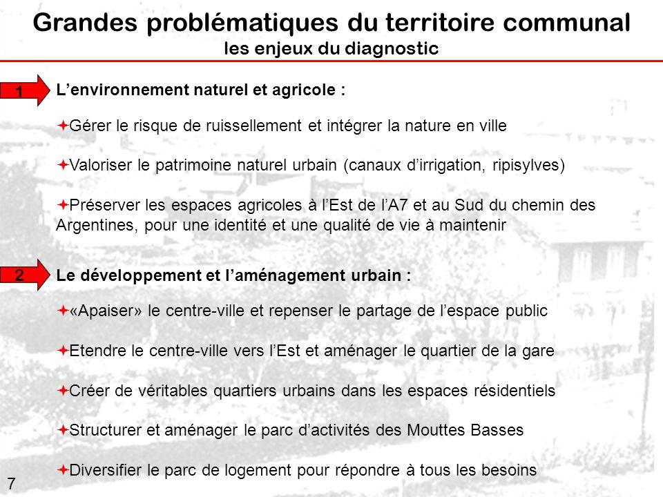 7 Grandes problématiques du territoire communal les enjeux du diagnostic Lenvironnement naturel et agricole : Gérer le risque de ruissellement et inté
