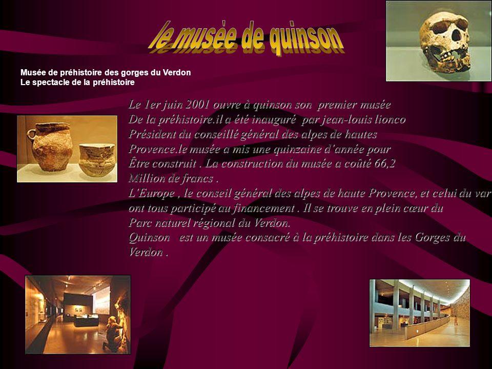 Musée de préhistoire des gorges du Verdon Le spectacle de la préhistoire Le 1er juin 2001 ouvre à quinson son premier musée De la préhistoire.il a été