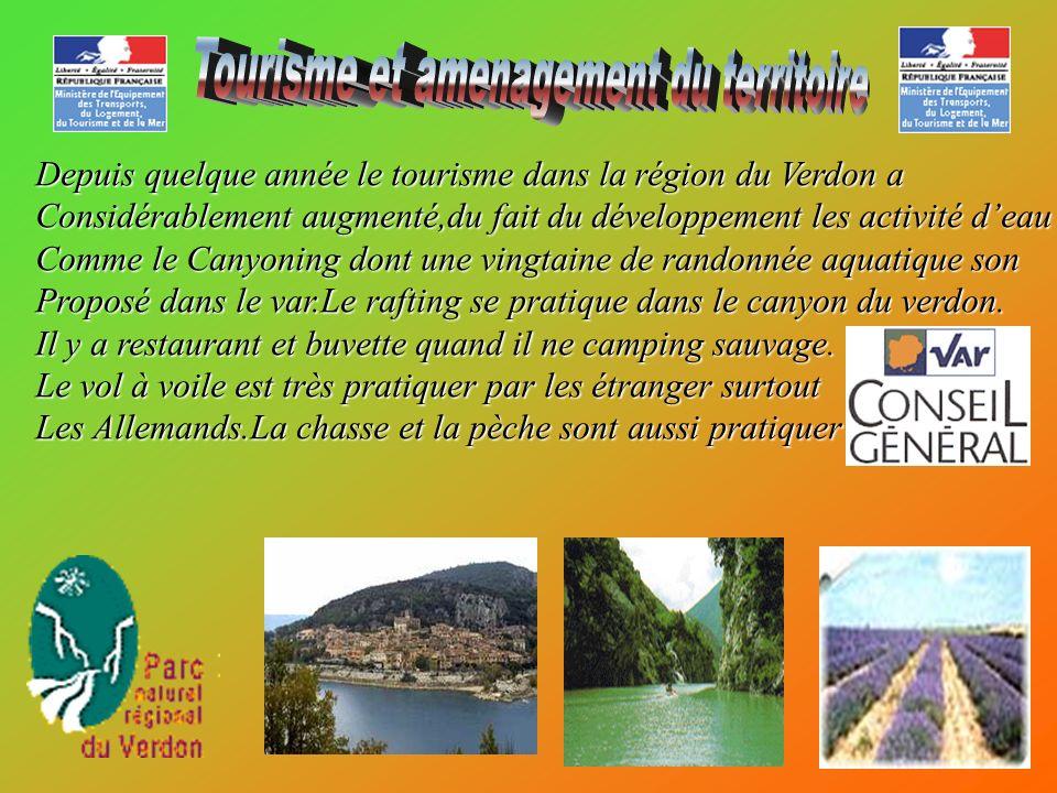 Depuis quelque année le tourisme dans la région du Verdon a Considérablement augmenté,du fait du développement les activité deau Comme le Canyoning do