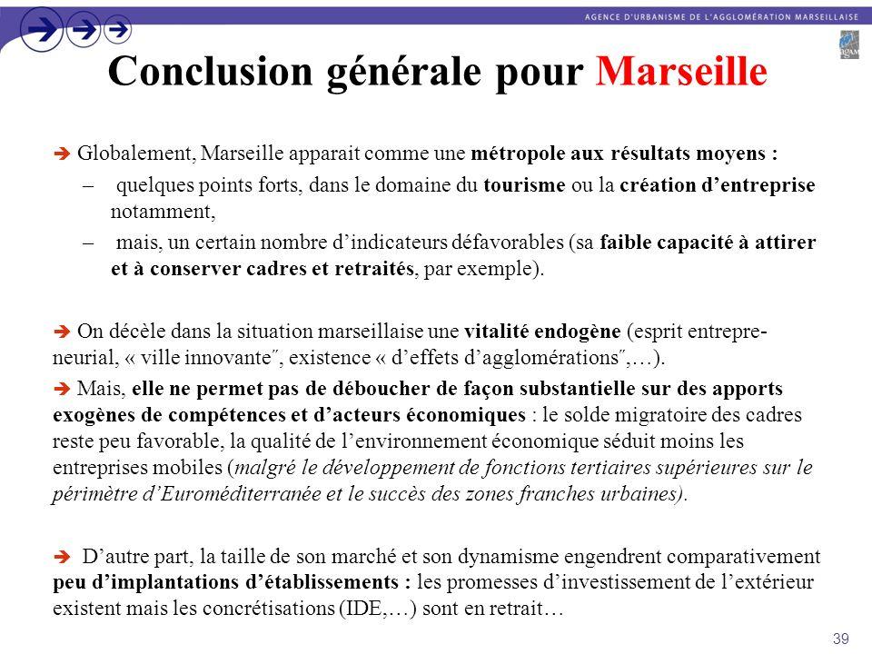 Conclusion générale pour Marseille Globalement, Marseille apparait comme une métropole aux résultats moyens : – quelques points forts, dans le domaine