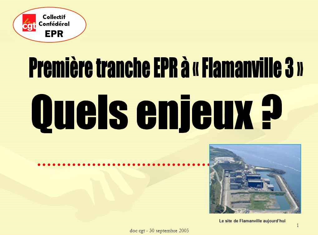doc cgt - 30 septembre 2005 2 Collectif Confédéral EPR tête de série La tranche EPR Flamanville 3 est une tête de série Lorganisation sociale et industrielle qui sera mise en place conditionnera la suite de la série