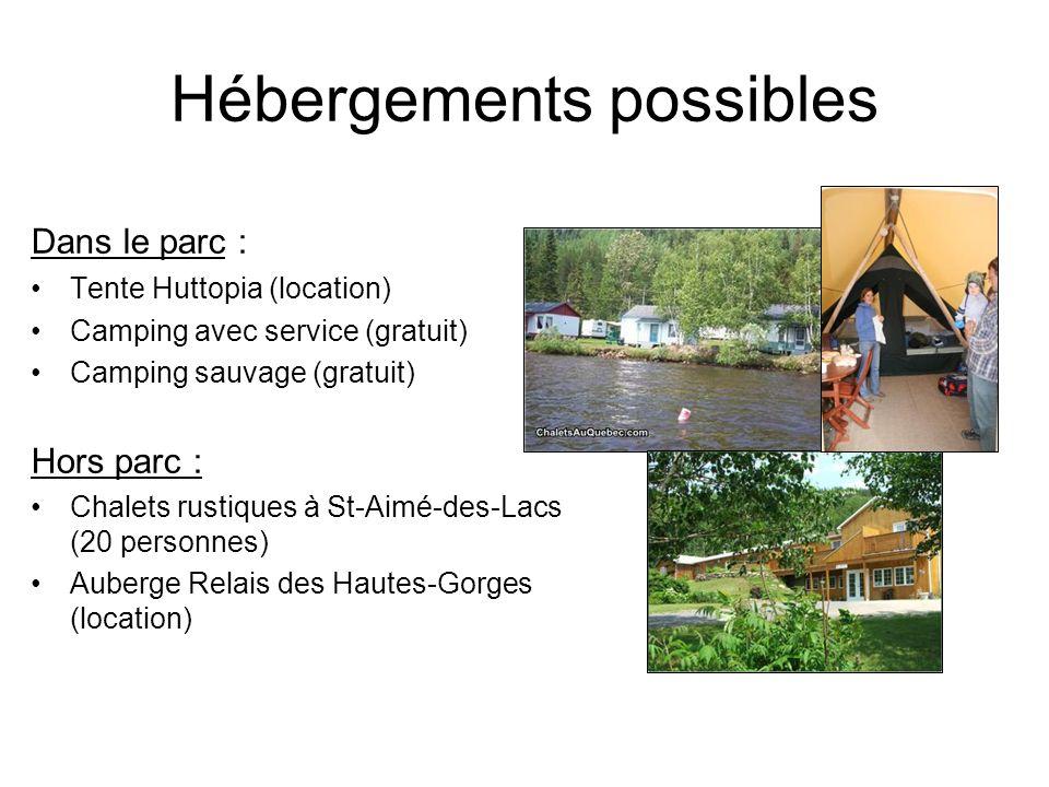 Hébergements possibles Dans le parc : Tente Huttopia (location) Camping avec service (gratuit) Camping sauvage (gratuit) Hors parc : Chalets rustiques à St-Aimé-des-Lacs (20 personnes) Auberge Relais des Hautes-Gorges (location)