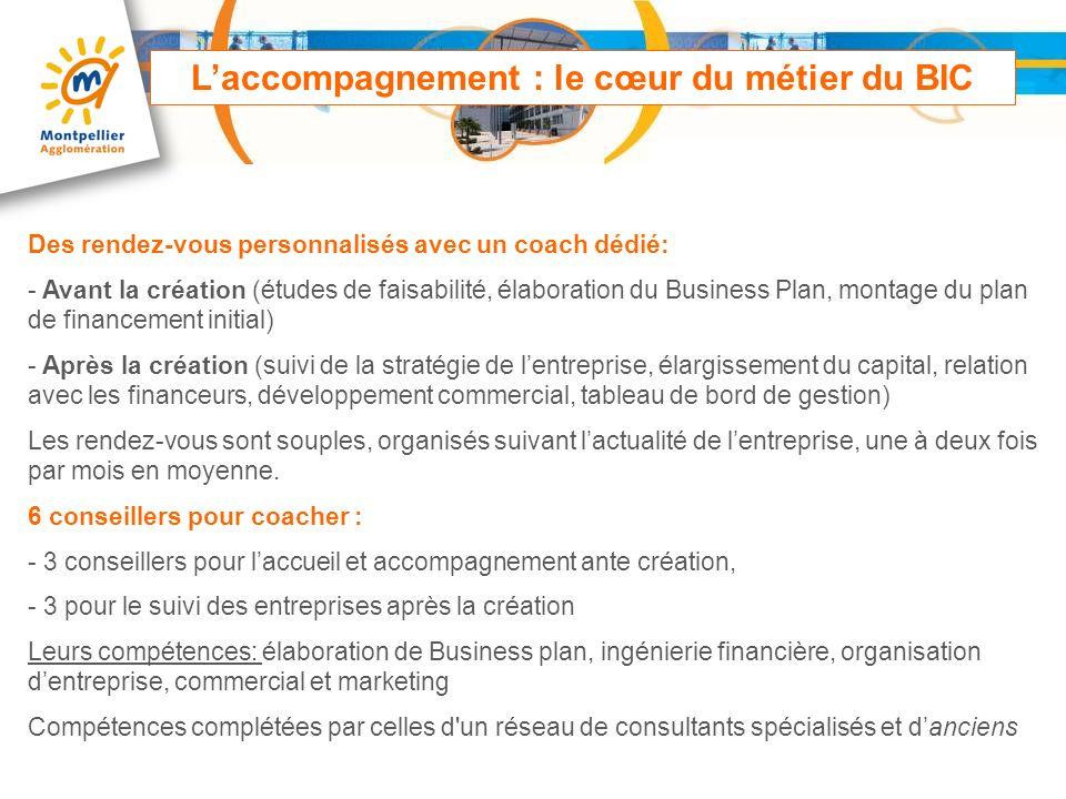 Laccompagnement : le cœur du métier du BIC Des rendez-vous personnalisés avec un coach dédié: - Avant la création (études de faisabilité, élaboration