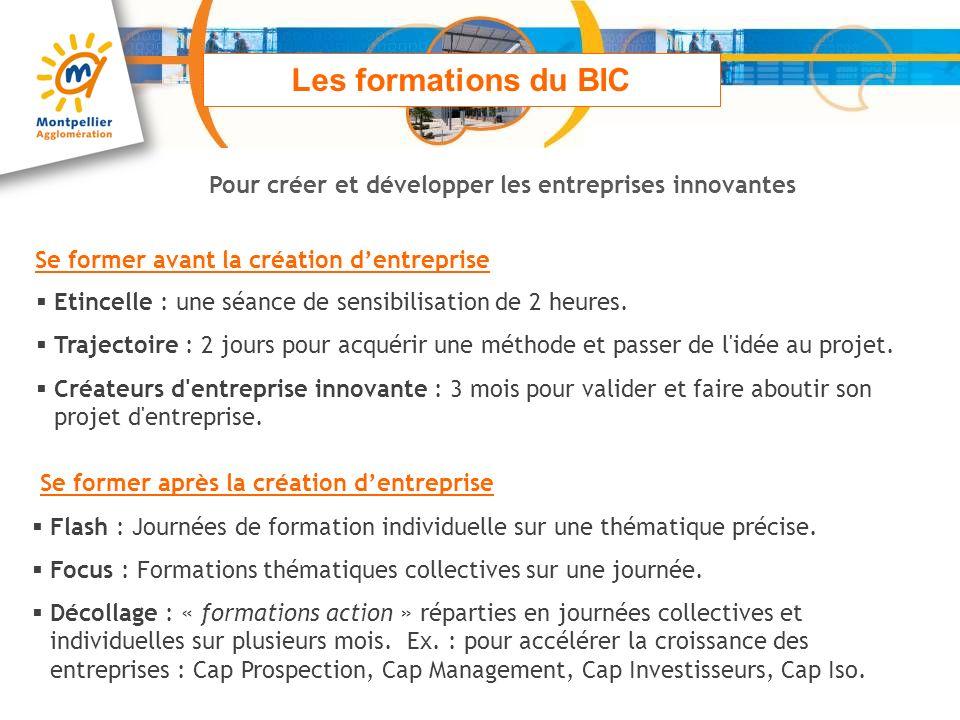 Les formations du BIC Pour créer et développer les entreprises innovantes Se former avant la création dentreprise Etincelle : une séance de sensibilis