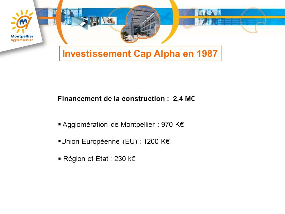 Financement de la construction : 10 M Agglomération de Montpellier : 7 875 K Union Européenne(Feder) : 915 K État : 600 K Conseil Général de lHérault : 610 K Investissement Cap Omega en 2004