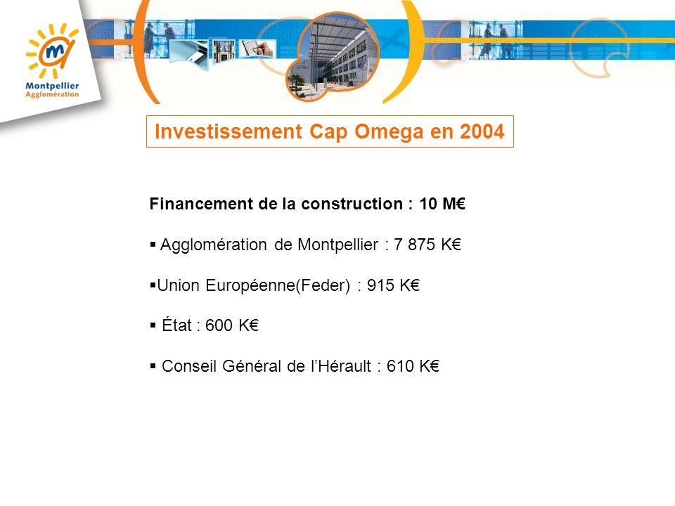 Financement de la construction : 10 M Agglomération de Montpellier : 7 875 K Union Européenne(Feder) : 915 K État : 600 K Conseil Général de lHérault