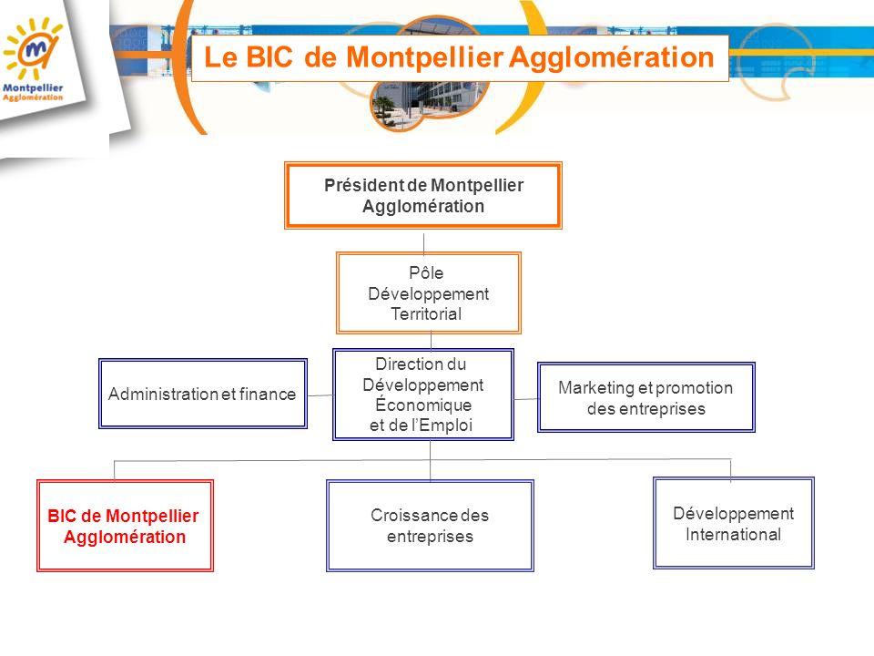 Président de Montpellier Agglomération Pôle Développement Territorial Direction du Développement Économique et de lEmploi Administration et finance BI