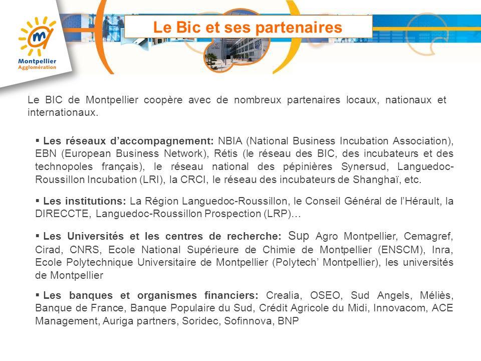 Le Bic et ses partenaires Le BIC de Montpellier coopère avec de nombreux partenaires locaux, nationaux et internationaux. Les réseaux daccompagnement: