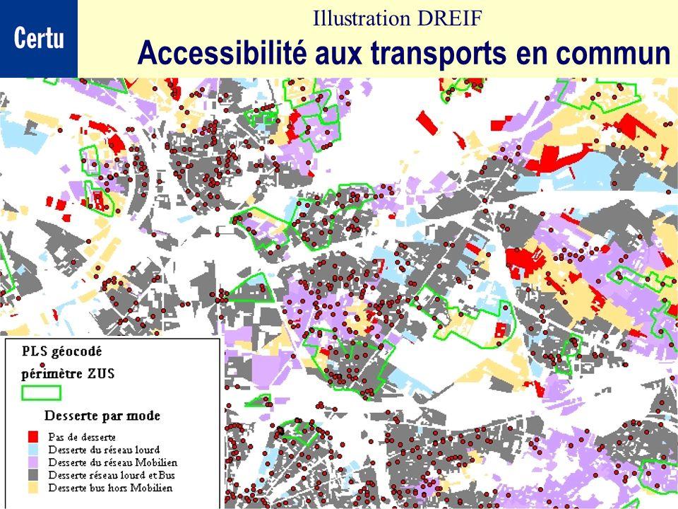 CERTULes Systèmes dInformation Géographique Accessibilité aux transports en commun Illustration DREIF