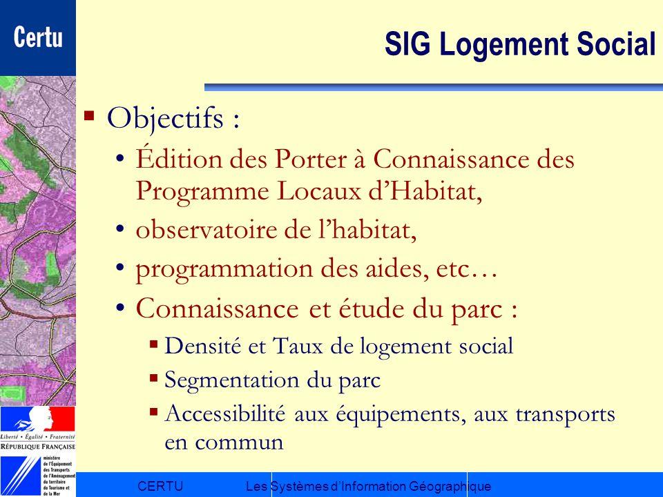 CERTULes Systèmes dInformation Géographique SIG Logement Social Objectifs : Édition des Porter à Connaissance des Programme Locaux dHabitat, observato