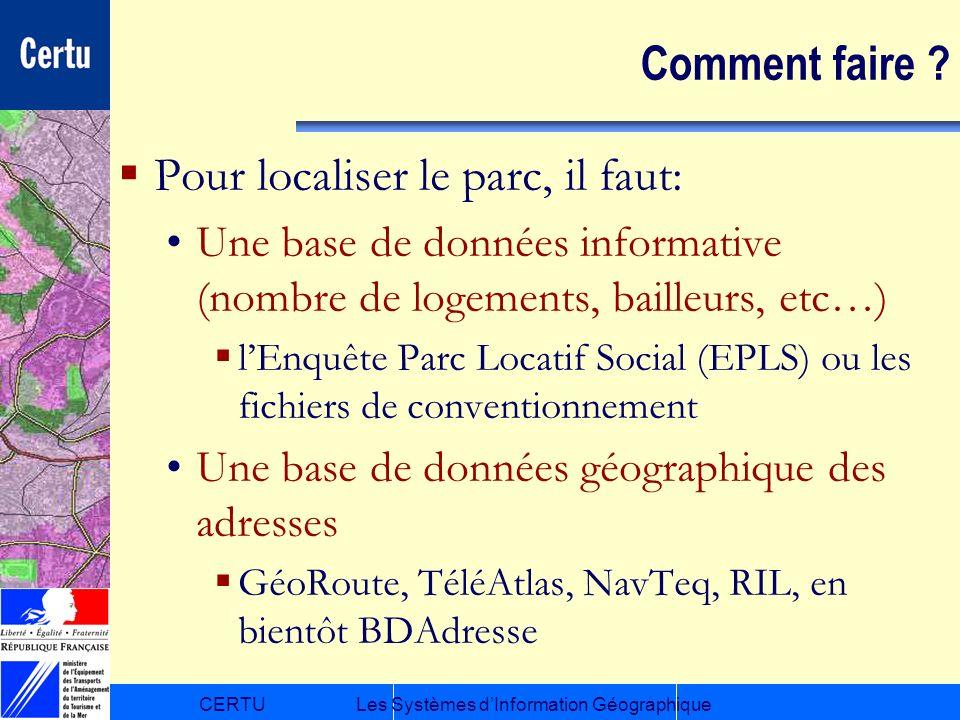 CERTULes Systèmes dInformation Géographique Comment faire ? Pour localiser le parc, il faut: Une base de données informative (nombre de logements, bai