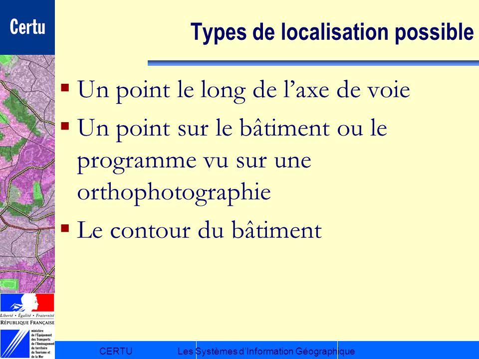CERTULes Systèmes dInformation Géographique Types de localisation possible Un point le long de laxe de voie Un point sur le bâtiment ou le programme v