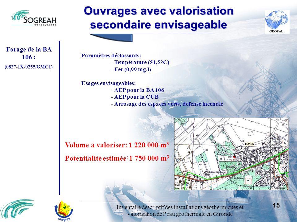 Inventaire descriptif des installations géothermiques et valorisation de leau géothermale en Gironde 15 Paramètres déclassants: - Température (51,5°C)