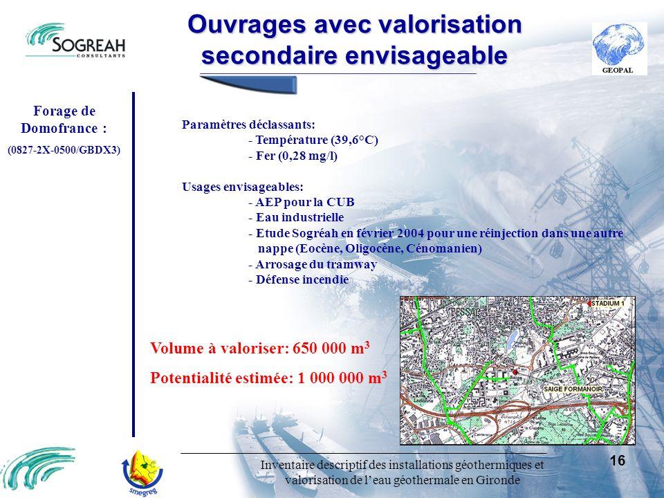 Inventaire descriptif des installations géothermiques et valorisation de leau géothermale en Gironde 16 Ouvragesavecvalorisation secondaireenvisageabl
