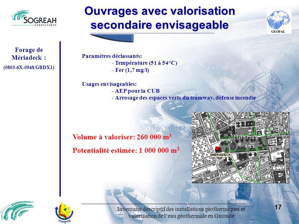 Inventaire descriptif des installations géothermiques et valorisation de leau géothermale en Gironde 17 Paramètres déclassants: - Température (51 à 54