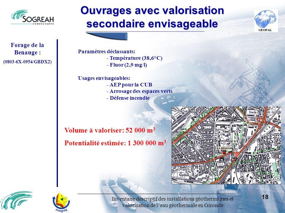 Inventaire descriptif des installations géothermiques et valorisation de leau géothermale en Gironde 18 Ouvragesavecvalorisation secondaireenvisageabl