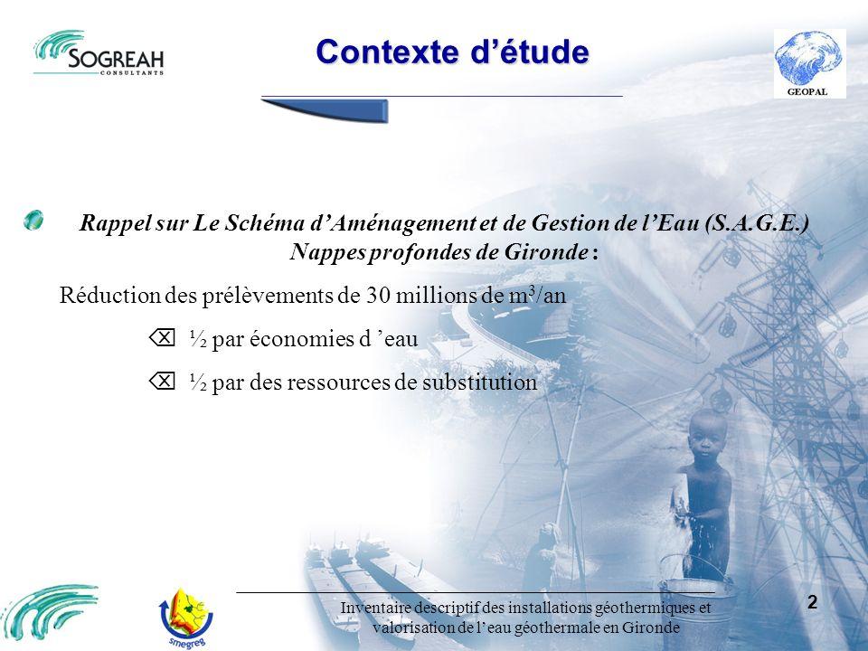 Inventaire descriptif des installations géothermiques et valorisation de leau géothermale en Gironde 2 Contexte détude Contexte détude Rappel sur Le S