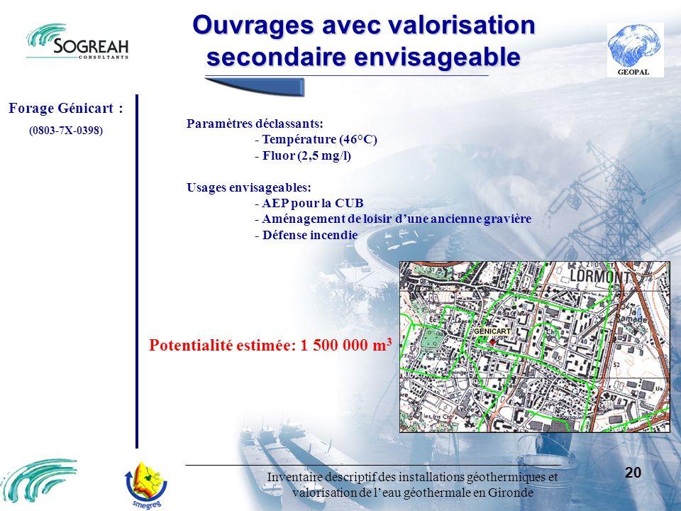 Inventaire descriptif des installations géothermiques et valorisation de leau géothermale en Gironde 20 Ouvragesavecvalorisation secondaireenvisageabl