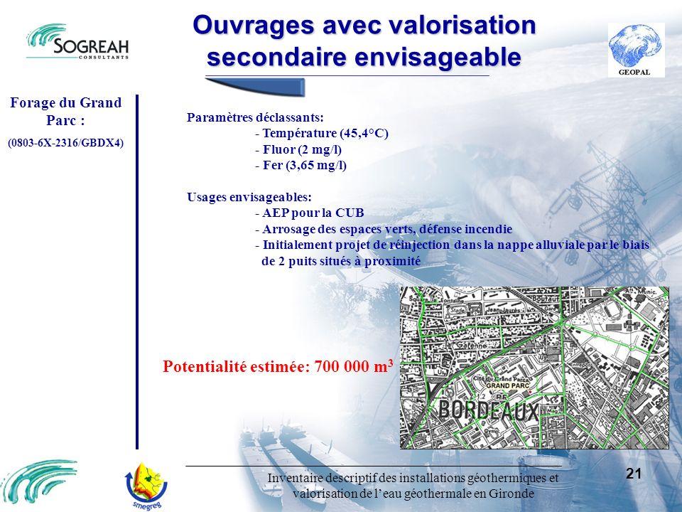 Inventaire descriptif des installations géothermiques et valorisation de leau géothermale en Gironde 21 Paramètres déclassants: - Température (45,4°C)