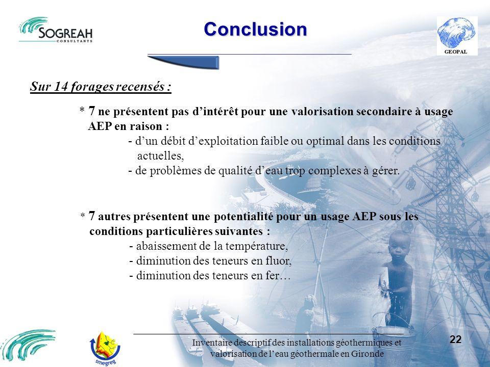 Inventaire descriptif des installations géothermiques et valorisation de leau géothermale en Gironde 22 Sur 14 forages recensés : * 7 ne présentent pa