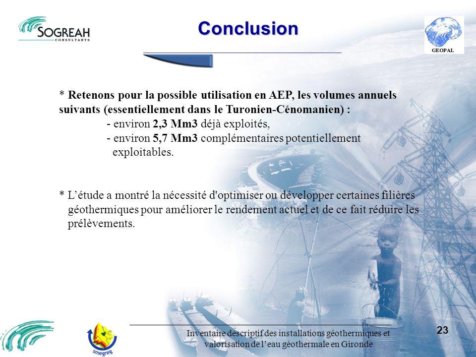 Inventaire descriptif des installations géothermiques et valorisation de leau géothermale en Gironde 23 Conclusion Conclusion * Retenons pour la possi