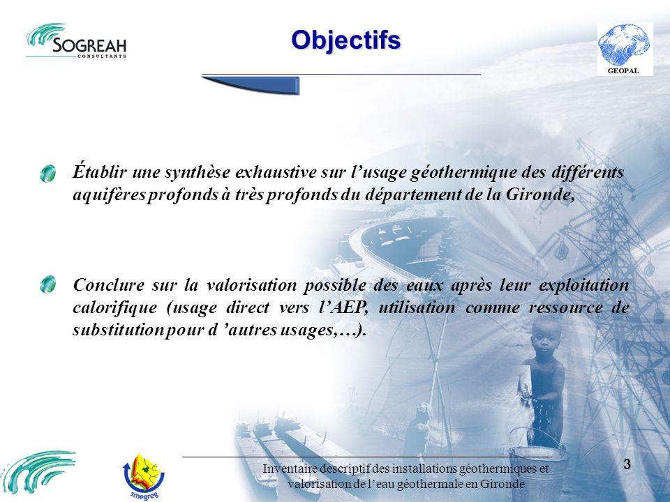 Inventaire descriptif des installations géothermiques et valorisation de leau géothermale en Gironde 3 Objectifs Conclure sur la valorisation possible