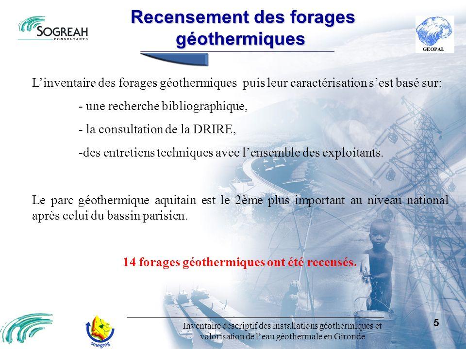 Inventaire descriptif des installations géothermiques et valorisation de leau géothermale en Gironde 16 Ouvragesavecvalorisation secondaireenvisageable Ouvrages avec valorisation secondaire envisageable Paramètres déclassants: - Température (39,6°C) - Fer (0,28 mg/l) Usages envisageables: - AEP pour la CUB - Eau industrielle - Etude Sogréah en février 2004 pour une réinjection dans une autre nappe (Eocène, Oligocène, Cénomanien) - Arrosage du tramway - Défense incendie Forage de Domofrance : (0827-2X-0500/GBDX3) Volume à valoriser: 650 000 m 3 Potentialité estimée: 1 000 000 m 3