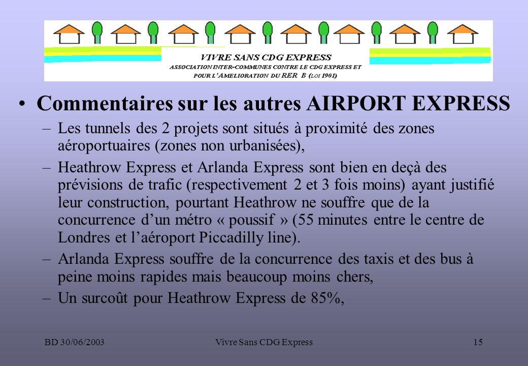 BD 30/06/2003Vivre Sans CDG Express15 Commentaires sur les autres AIRPORT EXPRESS –Les tunnels des 2 projets sont situés à proximité des zones aéropor