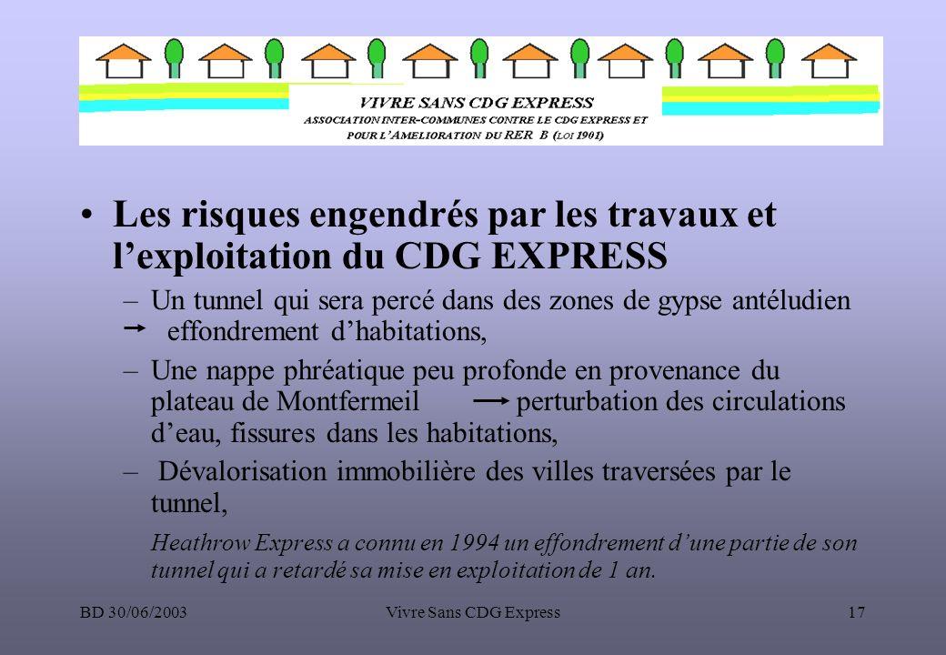 BD 30/06/2003Vivre Sans CDG Express17 Les risques engendrés par les travaux et lexploitation du CDG EXPRESS –Un tunnel qui sera percé dans des zones d