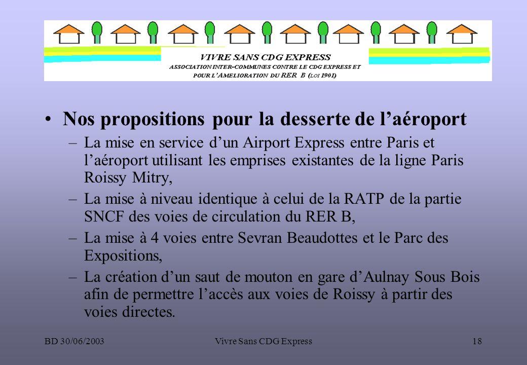 BD 30/06/2003Vivre Sans CDG Express18 Nos propositions pour la desserte de laéroport –La mise en service dun Airport Express entre Paris et laéroport