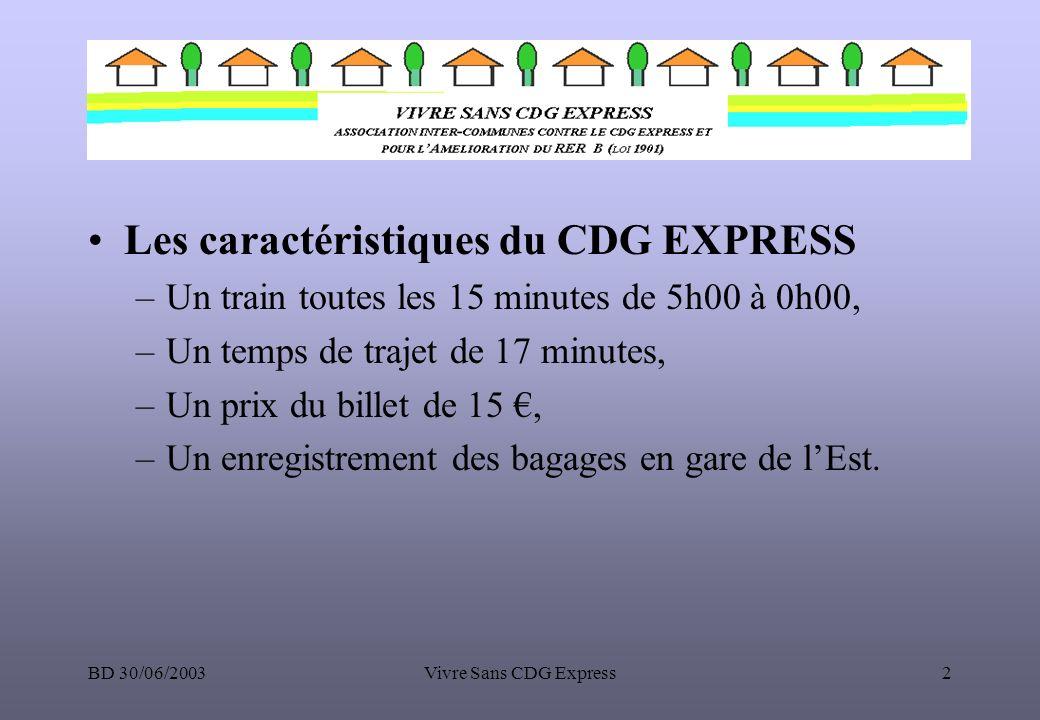 BD 30/06/2003Vivre Sans CDG Express13 Le CDG EXPRESS par rapport aux autres AIRPORT EXPRESS HEATHROW EXPRESS ARLANDA EXPRESS CDG EXPRESS Temps de parcours15 min à 20 min20 min17 min Fréquence (trains/heure)444 Longueur du parcours27.5 km42 km25 km Coût initial300M760 M Coût560 M500 M800 < .