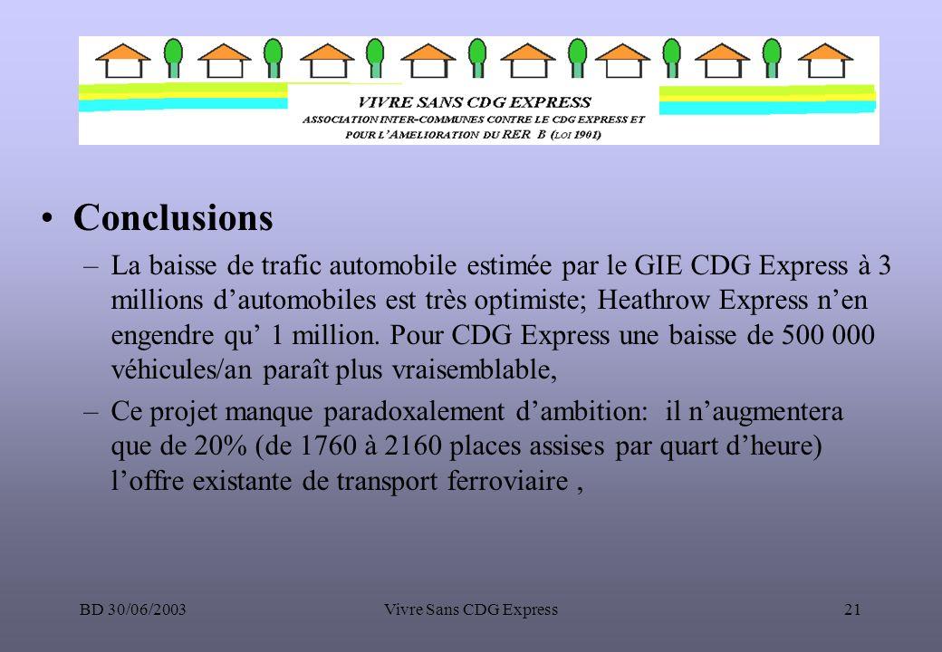 BD 30/06/2003Vivre Sans CDG Express21 Conclusions –La baisse de trafic automobile estimée par le GIE CDG Express à 3 millions dautomobiles est très op