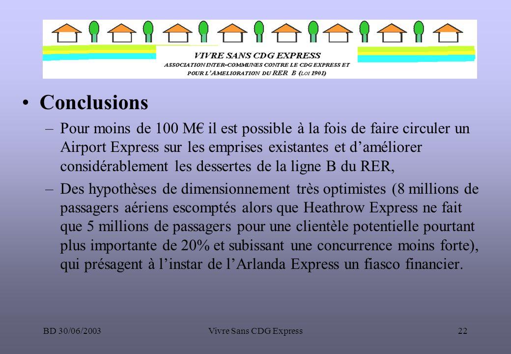 BD 30/06/2003Vivre Sans CDG Express22 Conclusions –Pour moins de 100 M il est possible à la fois de faire circuler un Airport Express sur les emprises
