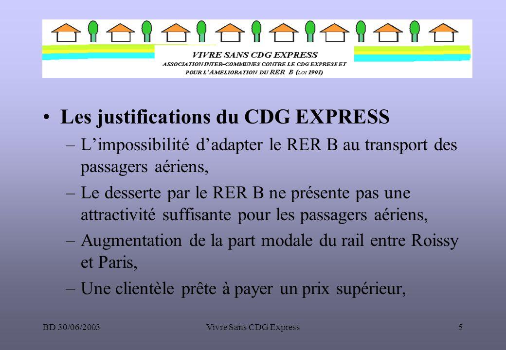 BD 30/06/2003Vivre Sans CDG Express5 Les justifications du CDG EXPRESS –Limpossibilité dadapter le RER B au transport des passagers aériens, –Le desse