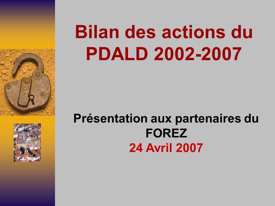 Bilan des actions du PDALD 2002-2007 Présentation aux partenaires du FOREZ 24 Avril 2007