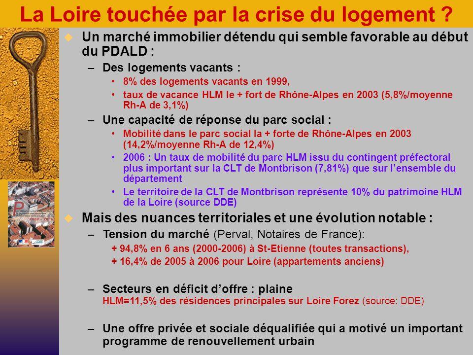 Moins de personnes… mais plus de ménages à loger –St-Etienne a perdu 2,6 % dhabitants, mais a gagné 3,3 % de ménages en + entre 1999 & 2004 Une population ligérienne modeste Sources INSEE/CNAFLoireRhône-Alpes Revenu mensuel médian 20041 100 1 200 Ménages imposés 200455,3 %60,6 % RMI 2005 pour 100 personnes 25-59 ans3 %2,6 % Taux de chômage au 31/12/068,8 %7,5 % Une population confrontée au handicap AAH 2005 pour 100 personnes 25-59 ans3,3 %2,2 % Une population vieillissante, particulièrement dans le parc social : –35 % des locataires HLM de la Loire ont + de 60 ans contre 25 % au plan national (USH 2005) Une demande de logement social mal connue, mais conséquente: –de lordre de 5 % des ménages en 2004 (Odelos) Une population précaire à loger…