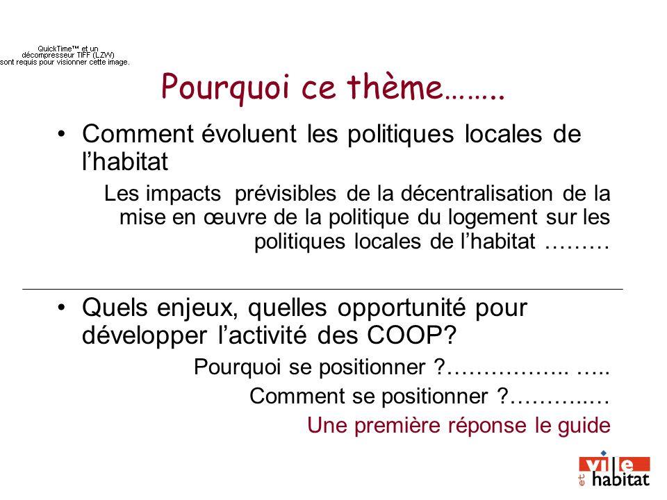 Pourquoi ce thème…….. Comment évoluent les politiques locales de lhabitat Les impacts prévisibles de la décentralisation de la mise en œuvre de la pol