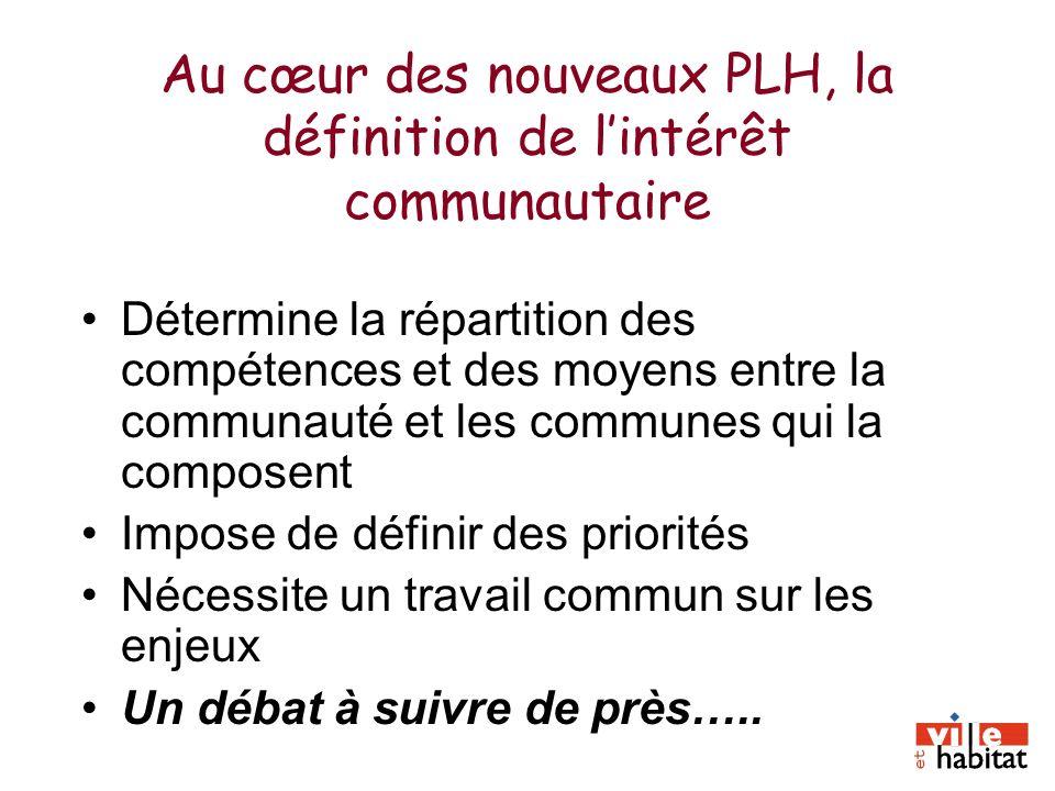 Au cœur des nouveaux PLH, la définition de lintérêt communautaire Détermine la répartition des compétences et des moyens entre la communauté et les co