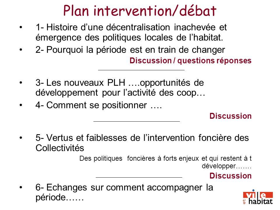 Plan intervention/débat 1- Histoire dune décentralisation inachevée et émergence des politiques locales de lhabitat. 2- Pourquoi la période est en tra