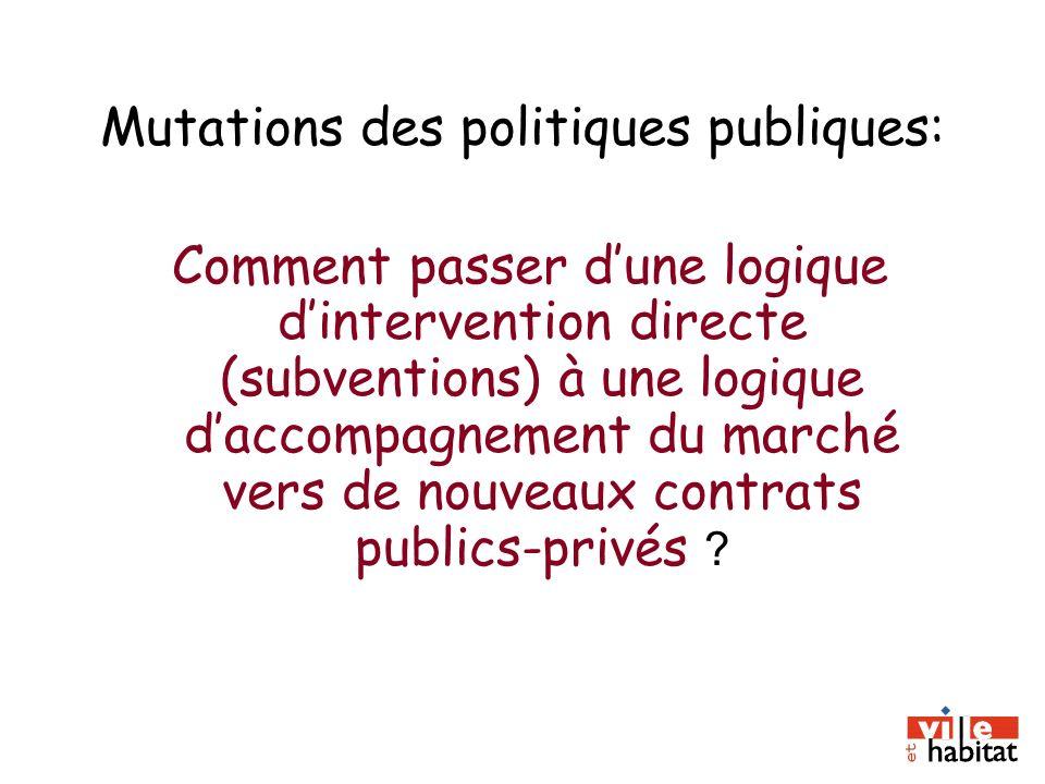Mutations des politiques publiques: Comment passer dune logique dintervention directe (subventions) à une logique daccompagnement du marché vers de no