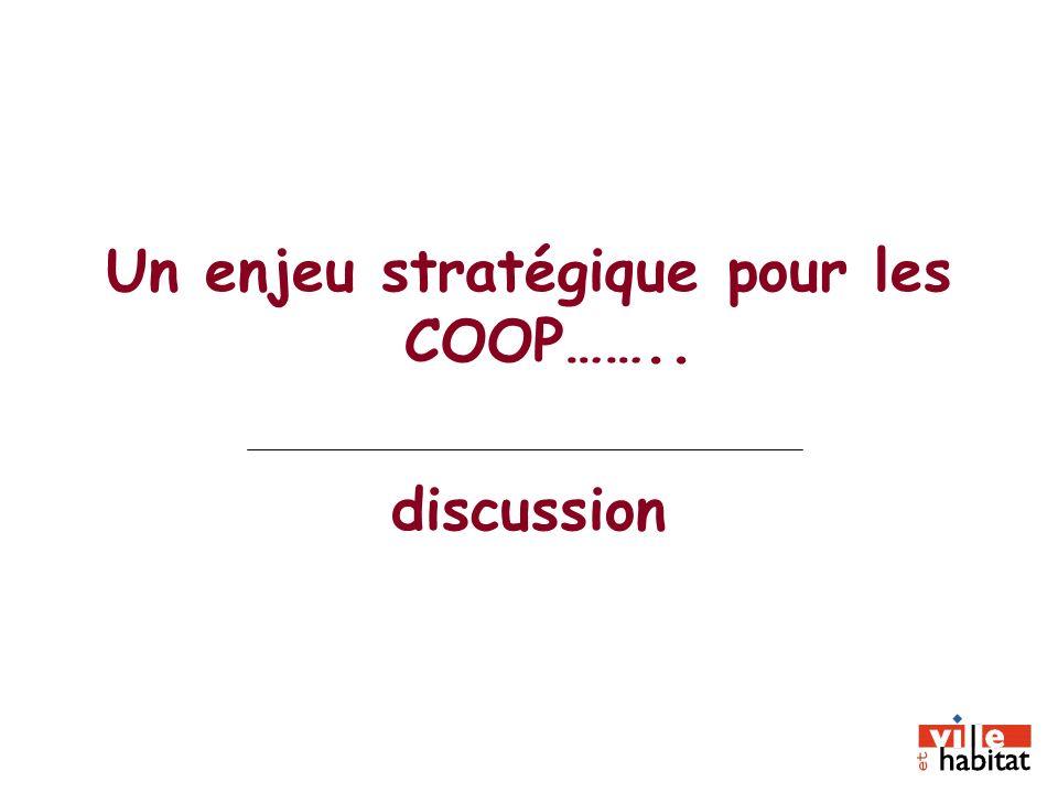 Un enjeu stratégique pour les COOP…….. discussion